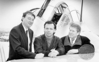 Gary Numan with Andrew Edie and John Woodhouse at Shoreham Airport 9 February 1992