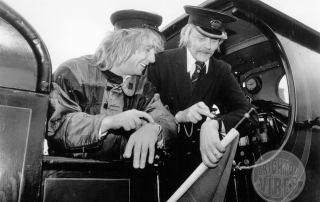 Rick Parfitt of Status Quo at the Bluebell Railway in 1983